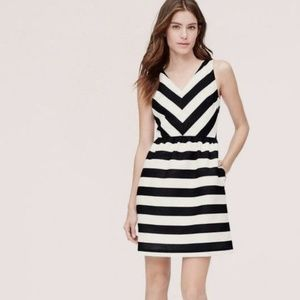 LOFT Fit and Flare black and white striped dress